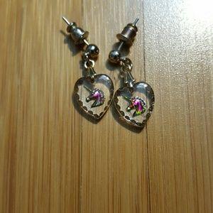 Other - Iridescent Unicorn heart earrings